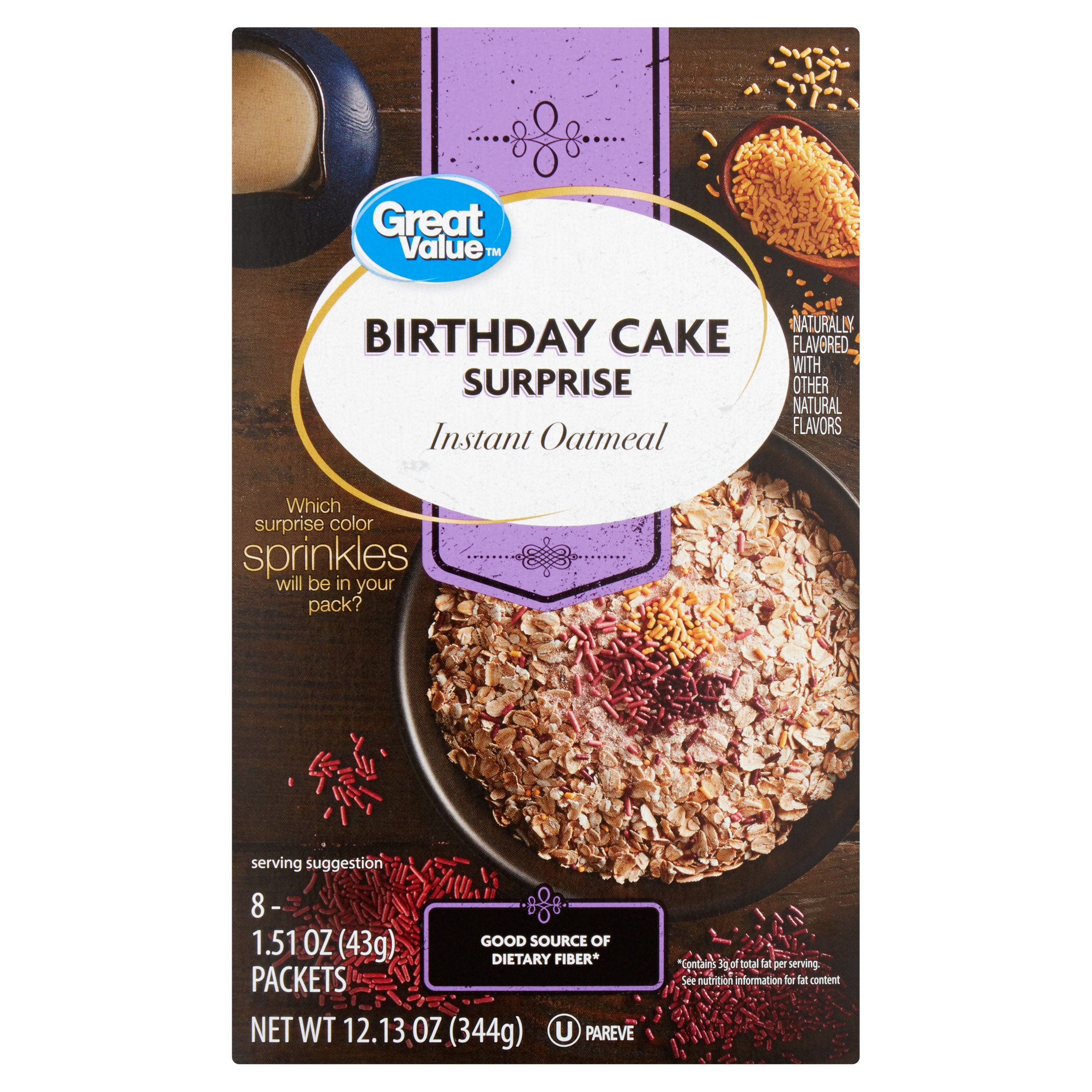 4 Pack Great Value Birthday Cake Surprise Instant Oatmeal 151 Oz 8 Count