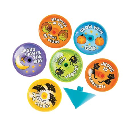 Fun Express - Little Boolievers Spin Tops for Halloween - Toys - Value Toys - Tops - Halloween - 144 Pieces (Halloween Spin List)