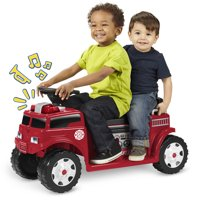 Radio Flyer Battery-Operated Fire Truck Ride-On for 2 with Lights and Sounds
