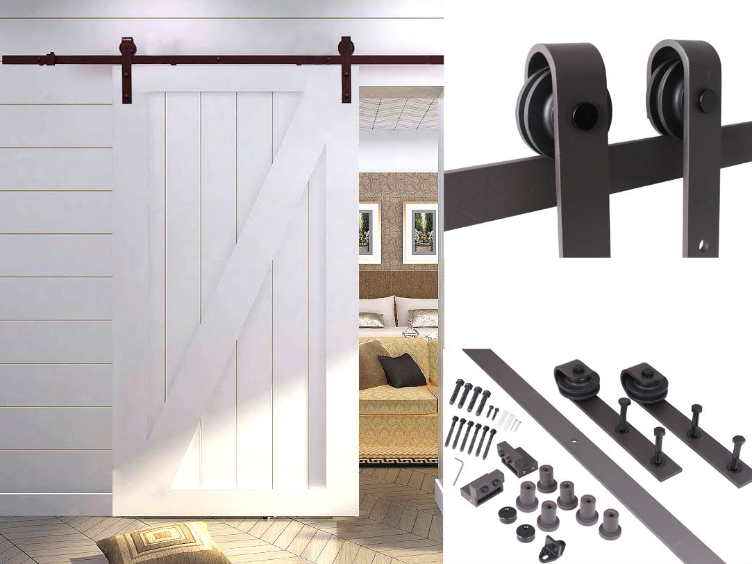 tms 8ft country antique style interior sliding barn door track hardware kit dark coffee steel