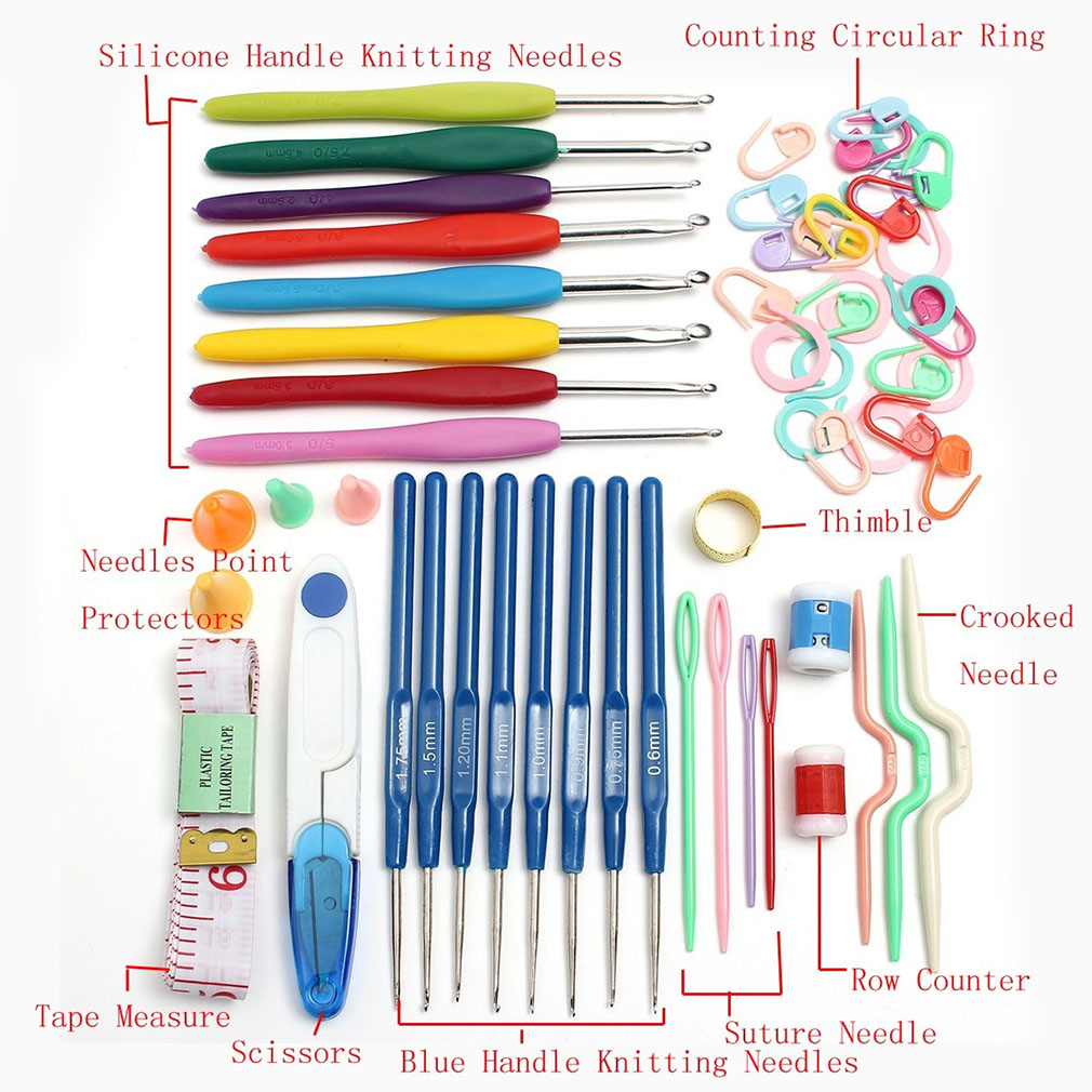16 Size Crochet Set 57 Pin Knitting Multicolor Crochet Hooks Needle Yarn Tool