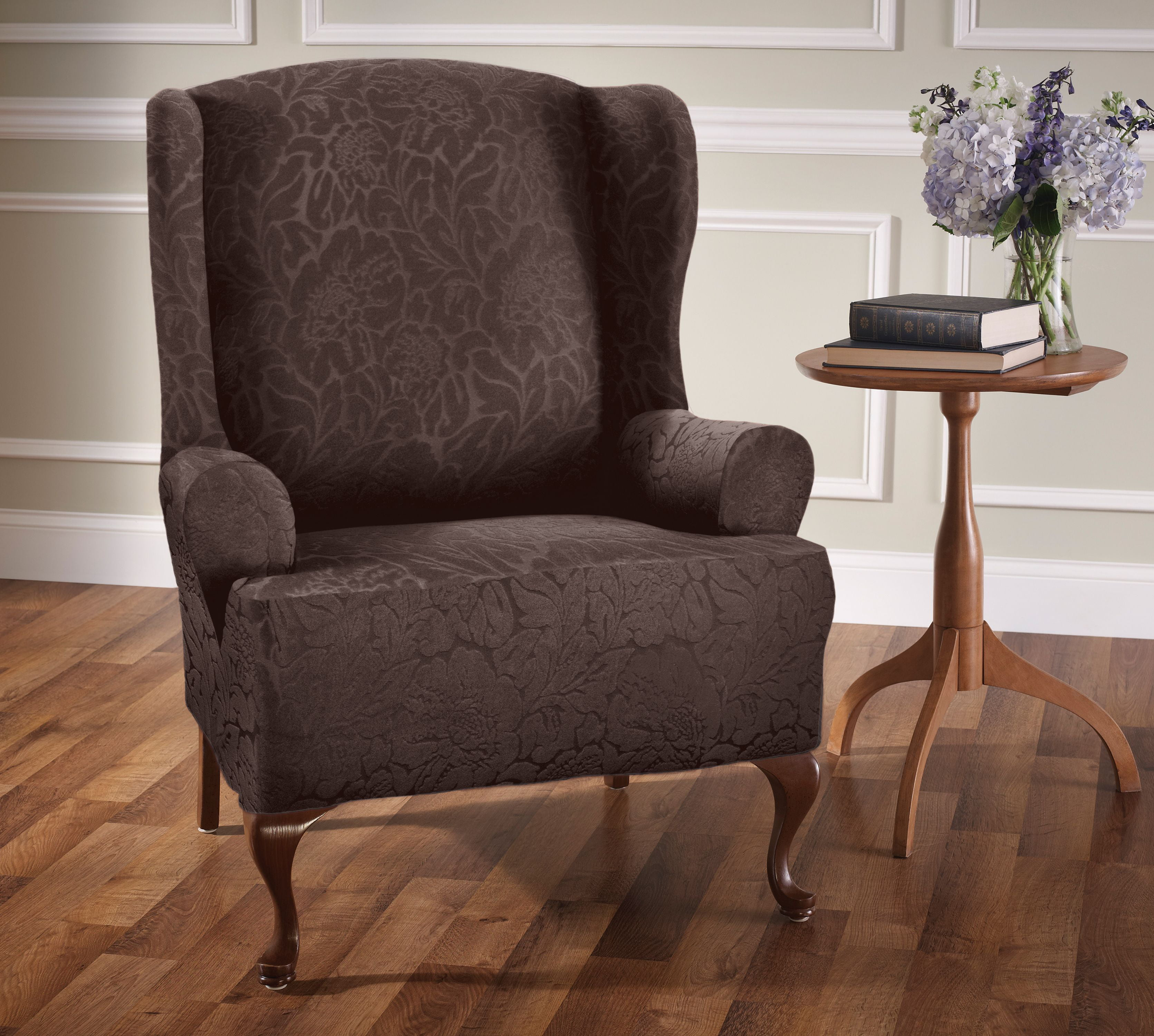 floral slipcovers for wingback chairs | STRETCH FLORAL WING CHAIR SLIPCOVER - Walmart.com