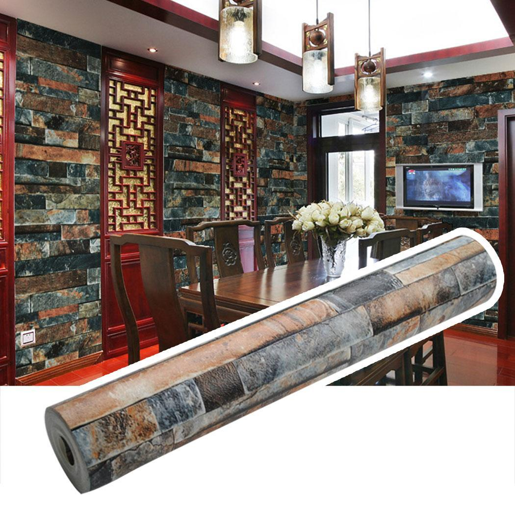 3D Wallpaper Effect Natural Embossed Stack Stone Brick Wall Paper Vinyl 10x0.53M SPPYY