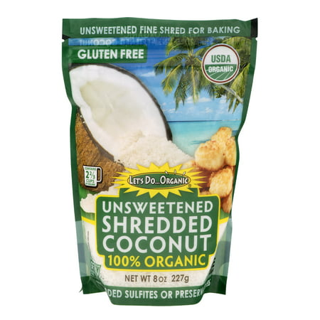 Bakers Coconut ((2 Pack) Let's Do Organic Finely Shredded Unsweetened Coconut, 8 oz)