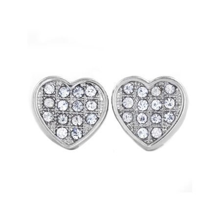 Silver Tone Micro Pave Crystal Heart Stud Post Earring