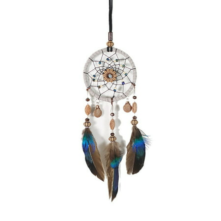 Car Mini Dream Catcher Natural Feathers Chic Handcraft Hanging Ornaments - Mini Vintage Halloween Ornaments