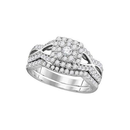 14kt White Gold Womens Round Diamond Split-shank Bridal Wedding Engagement Ring Band Set 1.00 Cttw - image 1 of 1