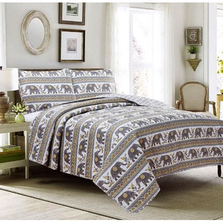 Full 3 Piece Quilt Set Coverlet Bedspread Elephant Boho Mandala Damask Medallion, Yellow and Gray