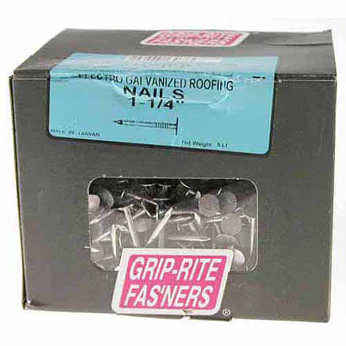 Grip-Rite 1-1/4 in. Electro Galvanized Roofing Nails (5 lb. box)