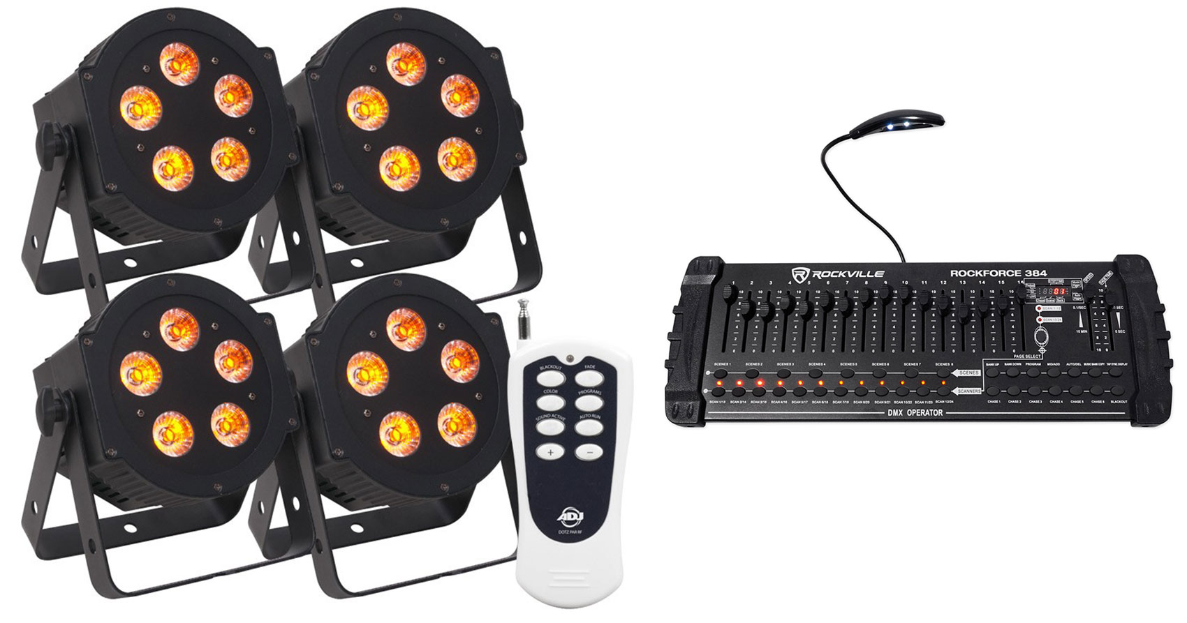 (4) American DJ ADJ 5P-HEX 6-In-1 RGBAW+UV LED Par Lights+Remote+DMX Controller by American DJ