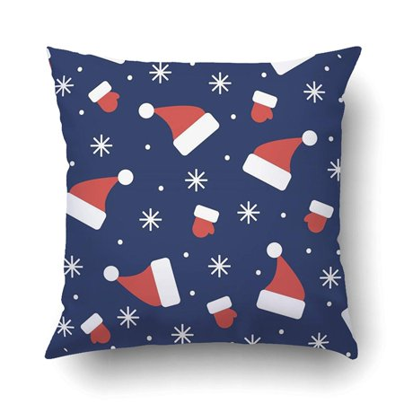 BSDHOME Xmas New Year And Xmas Hats Mittens And Snowflakes Dark Blue Pillow Case Cushion Cover Case Throw Pillow Case 16x16 inches - image 1 of 1