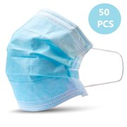 50 Face Masks, Non-Woven Ear Loop Breathable Disposable 3 Ply Face Masks, 50-Pack