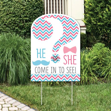 Chevron Gender Reveal - Party Decorations - Gender Reveal Party Welcome Yard Sign (Gender Reveal Decorations)