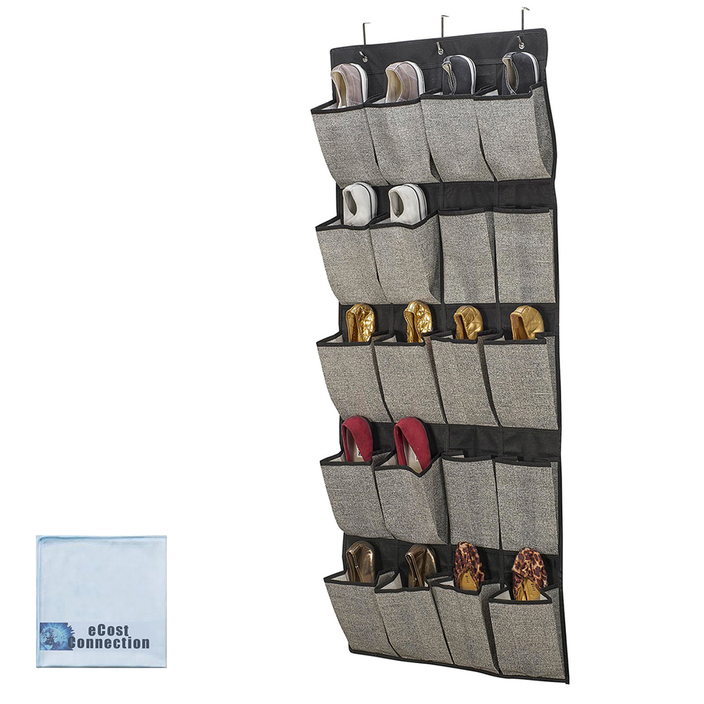 20 Pair Hanging Shoe Organizer Black/Grey + eCostConnection Microfiber Cloth