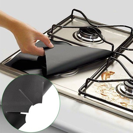 "TSV Gas Range Protectors,Non-Stick Stove Burner Covers - Stovetop Burner Protectors Liners Stove Top Cover Newest (6 Pack 10.6""x10.6"")Easy to Clean,Reusable Dishwasher Safe For (Protective Cooking Pads For Glass Top Stoves)"
