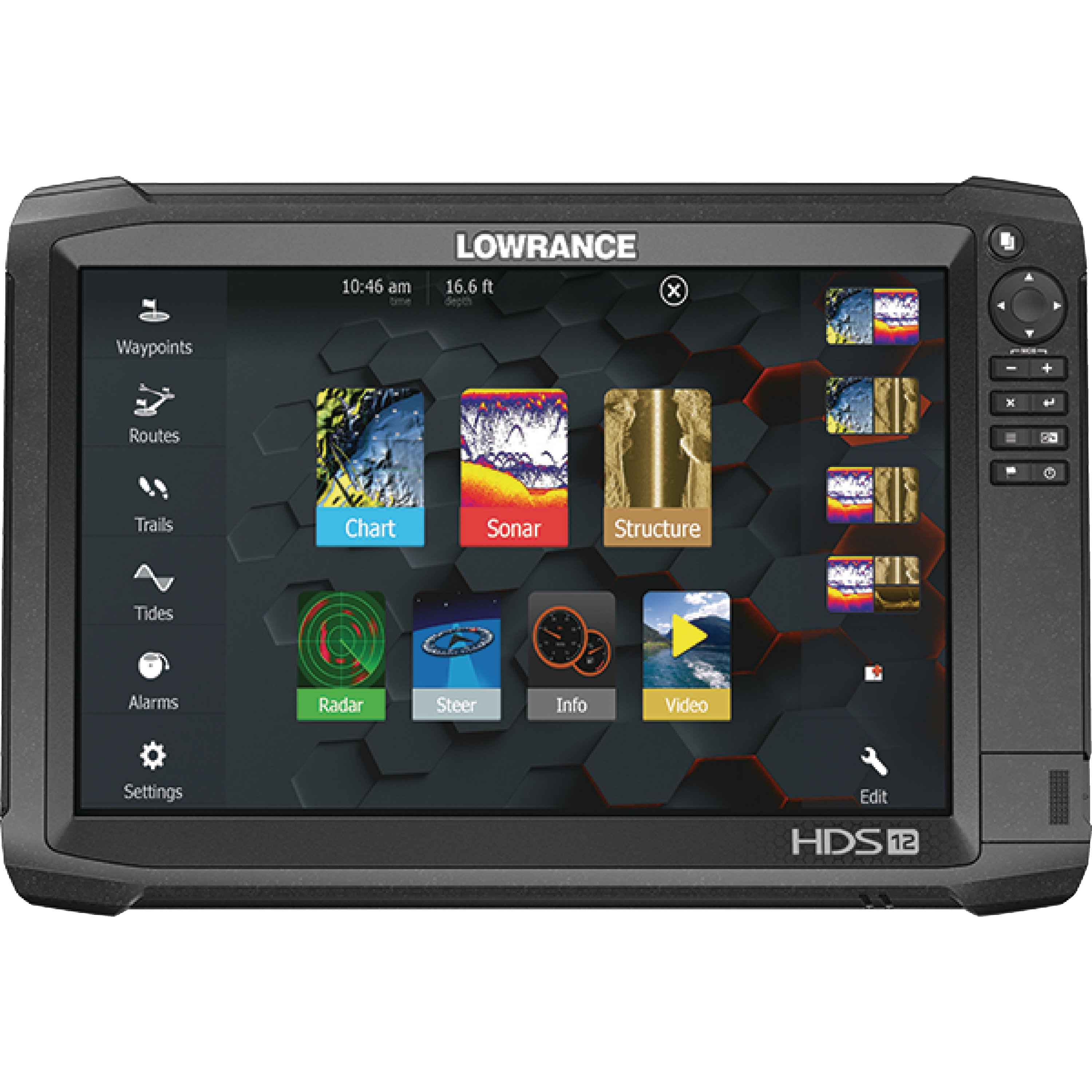 "Lowrance 000-13686-002 HDS Carbon 12 Fishfinder & Chartplotter with StructureScan 3D, SideScan Imaging, DownScan Imaging & 12"" Display"