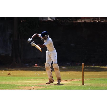 Canvas Print Ball Game Batsman Cricket Defense India Stretched Canvas 32 x (Best Cricket Ball Brand In India)