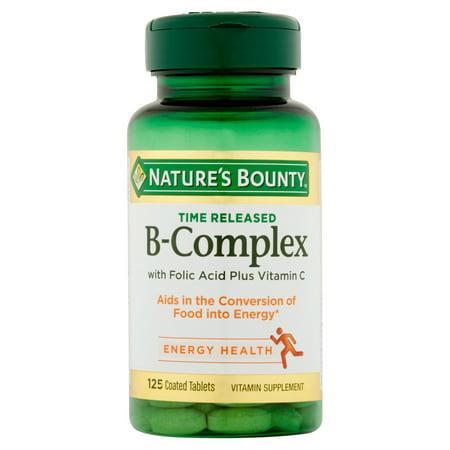 Temps de diffusion B complexe avec l'acide folique et de la vitamine C vitamine supplément Comprimés 100 count