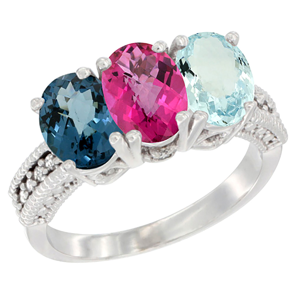 10K White Gold Natural London Blue Topaz, Pink Topaz & Aquamarine Ring 3-Stone Oval 7x5 mm Diamond Accent, sizes 5 10 by WorldJewels