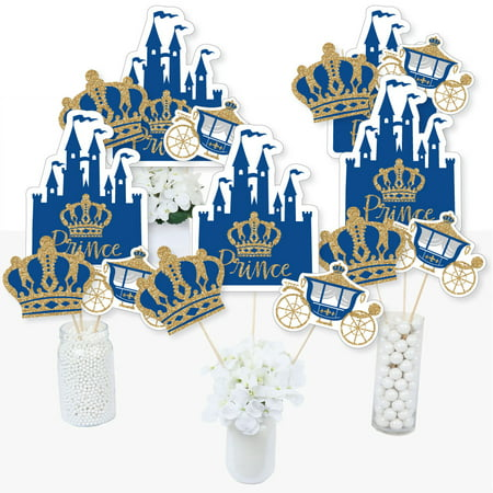 Royal Prince Charming - Baby Shower or Birthday Party Centerpiece Sticks - Table Toppers - Set of 15 - Quinceanera Centerpieces For Tables