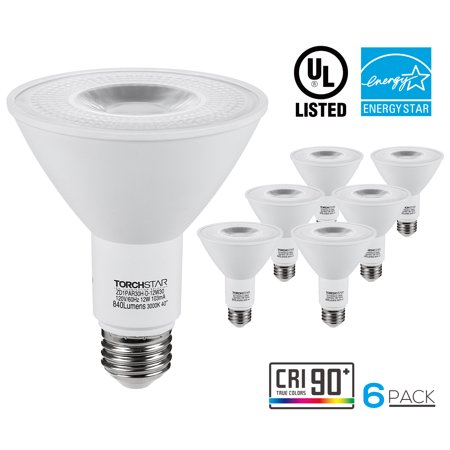 6 Pack Dimmable 12W PAR30 LED Light Bulbs, Outside Security Light Bulbs, LED Long Neck Spotlight, Light Bulbs for General Lighting, Track Lighting, 3000K Warm White ()