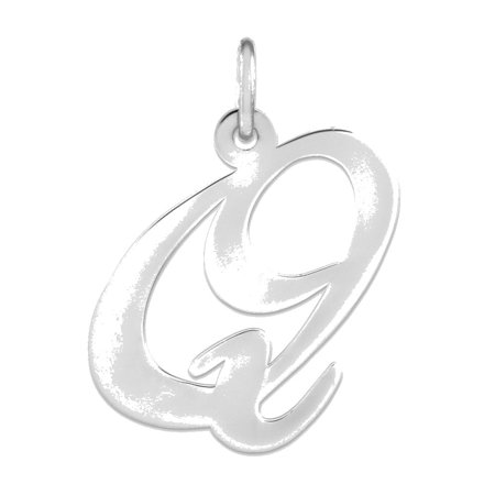 Sterling Silver Large Fancy Script Initial Q Charm