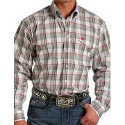 Cinch Western Shirt Mens Long Sleeve Pockets Flaps White MTW1107029