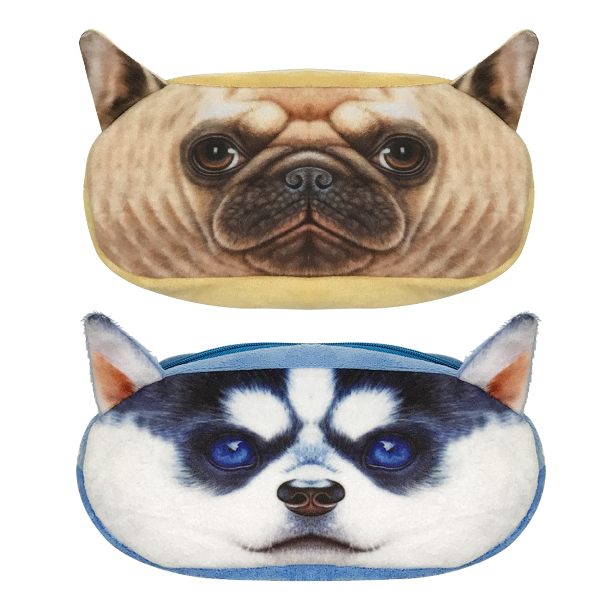 Wrapables® Dog Face Zippered Pencil Case (Set of 2), Pug & Husky