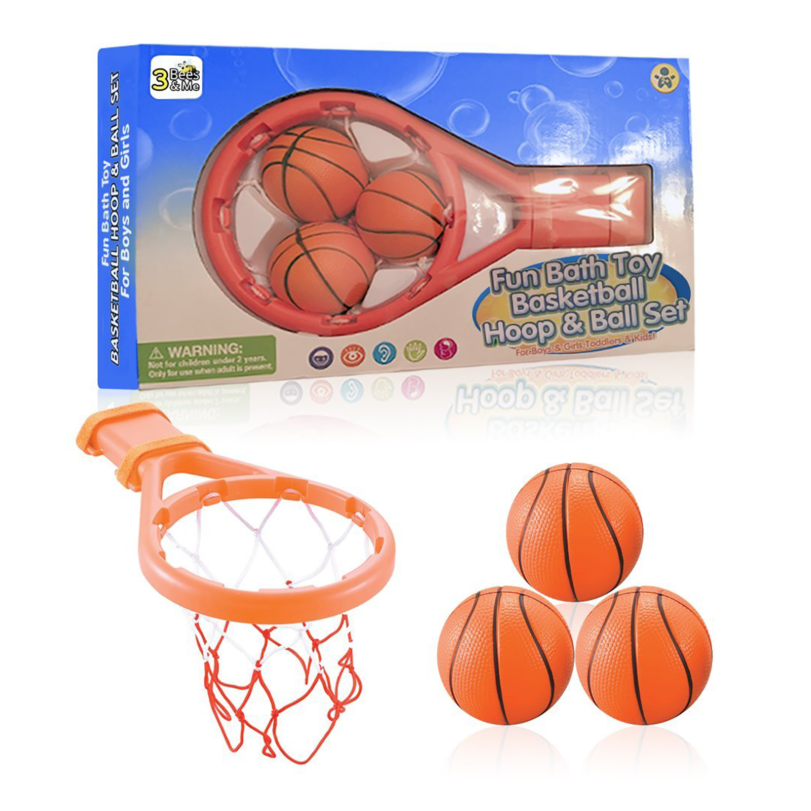 1 Set Bath Toy Basketball Hoop Suction Cup Mini Gift for Baby Kids Toddlers Bath