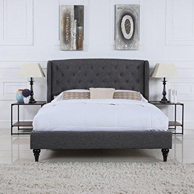 classic dark grey box-tufted shelter bed frame (full)