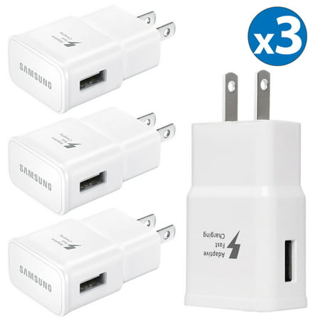 3 Pack Samsung Adaptive Fast Charging USB Side Port Wall Charger Plug Adapter For Samsung Galaxy S8 S9+ Plus Note 9 Note 8 Galaxy S7 Edge Galaxy Note 4 Apple iPhone X 8 Plus LG G7 Google Pixel 2