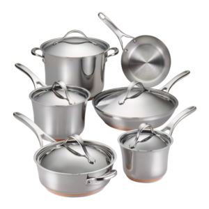 Anolon 77709 Nouvelle Stainless 11-Piece Cookware Set