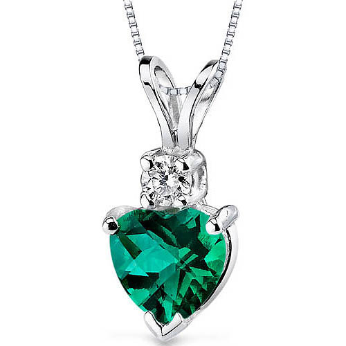 """0.75 Carat Heart-Shape Created Emerald and Diamond Accent 14kt White Gold Pendant, 18"""""""
