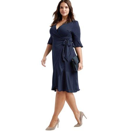 Ellos Plus Size Ruffle Trim Wrap Dress