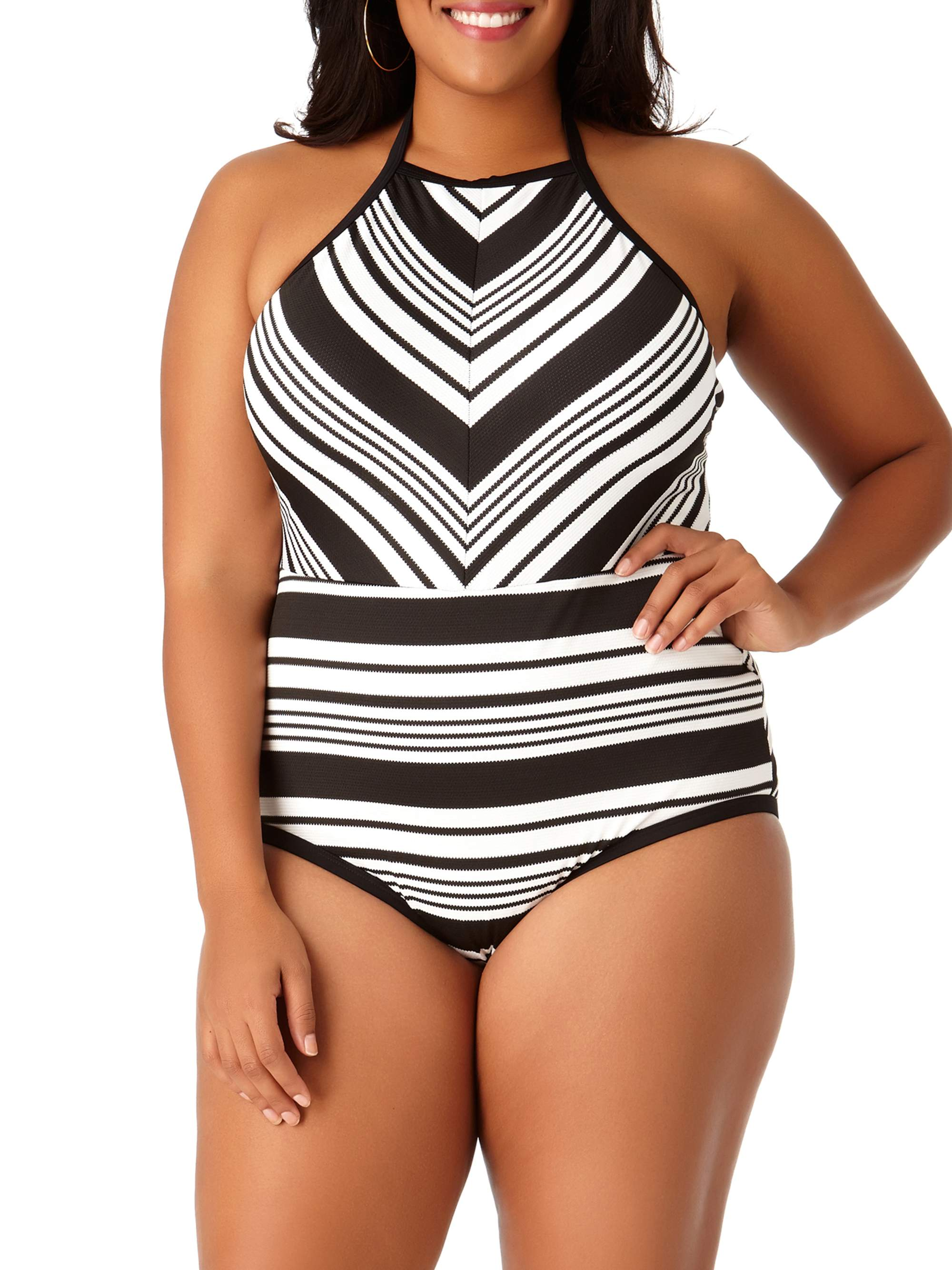 e40706e68ad21 Time and Tru - Women s Plus-Size Studio Stripe One-Piece Swimsuit ...