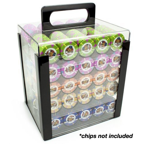 Brybelly Acrylic Poker Chip Carrier (1000-Count) with Chip Trays by Brybelly