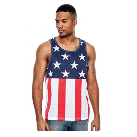 Men's True Rock Tank Top Regular Style Red, White and Blue All Over Print Muscle Top (Large) W76
