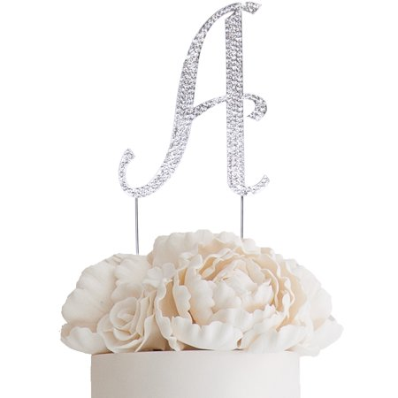 "BalsaCircle Silver Cake Topper - 4.5"" tall Rhinestone Personalized Wedding Party Monogram Dessert Decorations"