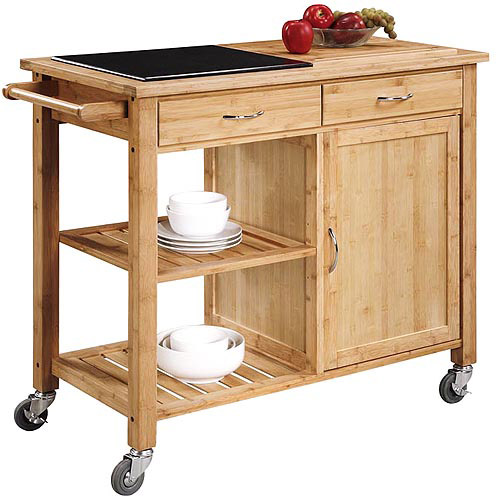 kitchen island with granite top bamboo walmart com oceanstar bamboo kitchen trolley contemporary kitchen