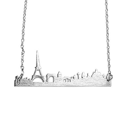 City Necklaces (Art Attack Silvertone Paris France City French Skyline Cityscape Eiffel Tower Outline Pendant)