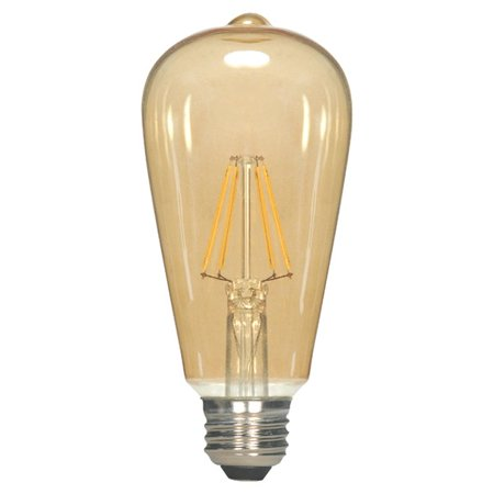(Antique Filament LED 4.5W 2300K ST19 E26 Dimmable Transparent Amber 120v Bulb)