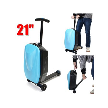 Blue Luxury 21 Inches Suitcase Scooter Travel Carry Luggage Handbag Wheels