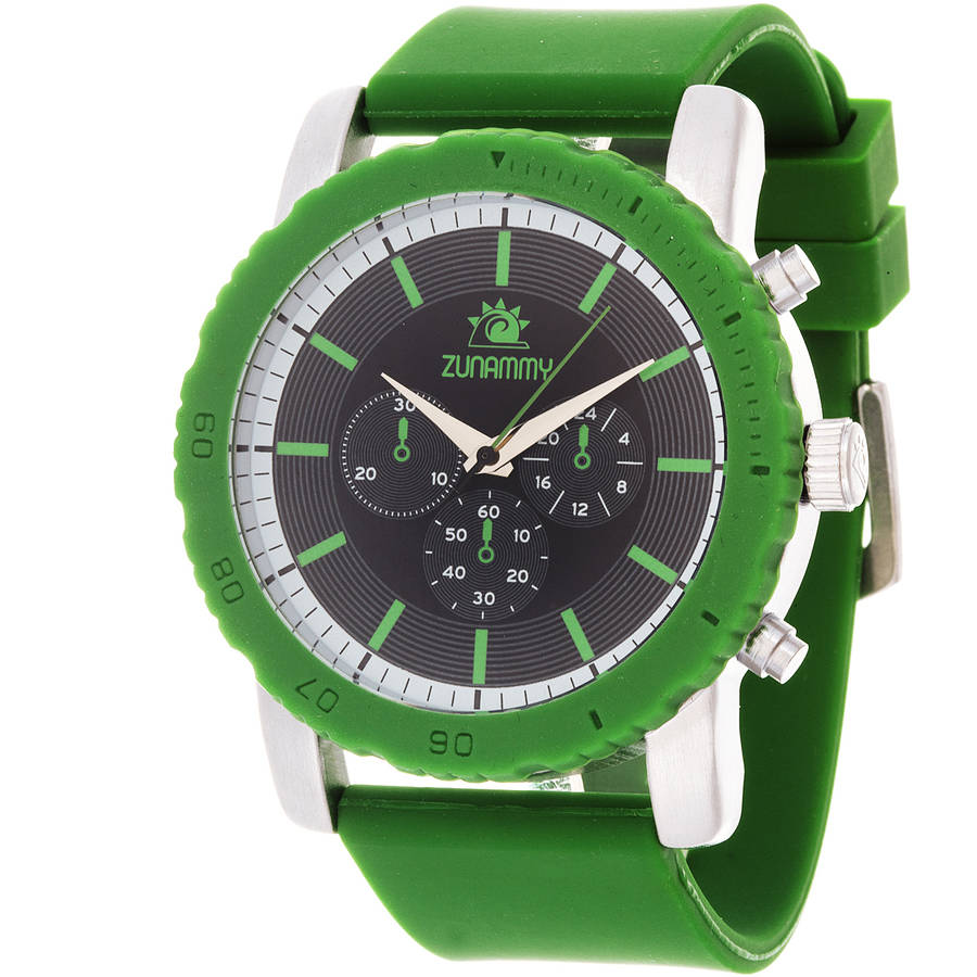 Zunammy Men's Sport and Fashion Watch, Green Rubber Strap