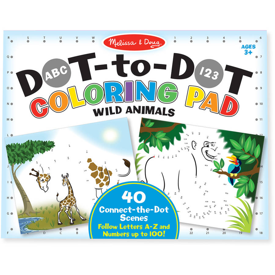 Melissa & Doug ABC 123 Dot-to-Dot Coloring Pad, Wild Animals