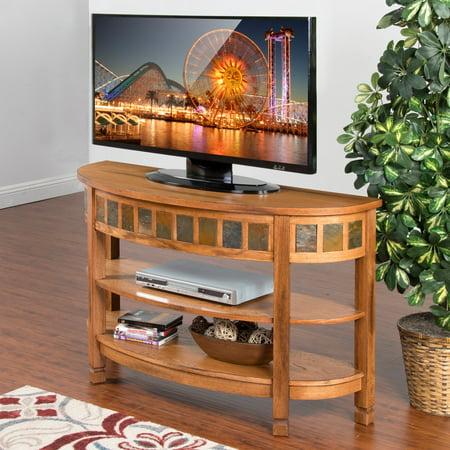 Curved End Console - Sunny Designs Sedona Curved TV Console - Rustic Oak