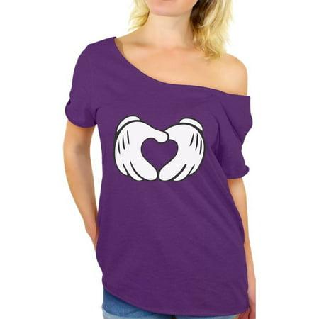 Awkward Styles Cartoon Hands Heart Shirt for Women Valentine Heart Off the Shoulder T Shirt Cute Valentine Heart Women's Top Valentine's Day Love Gift Idea for Her Heart Valentines Day Shirt