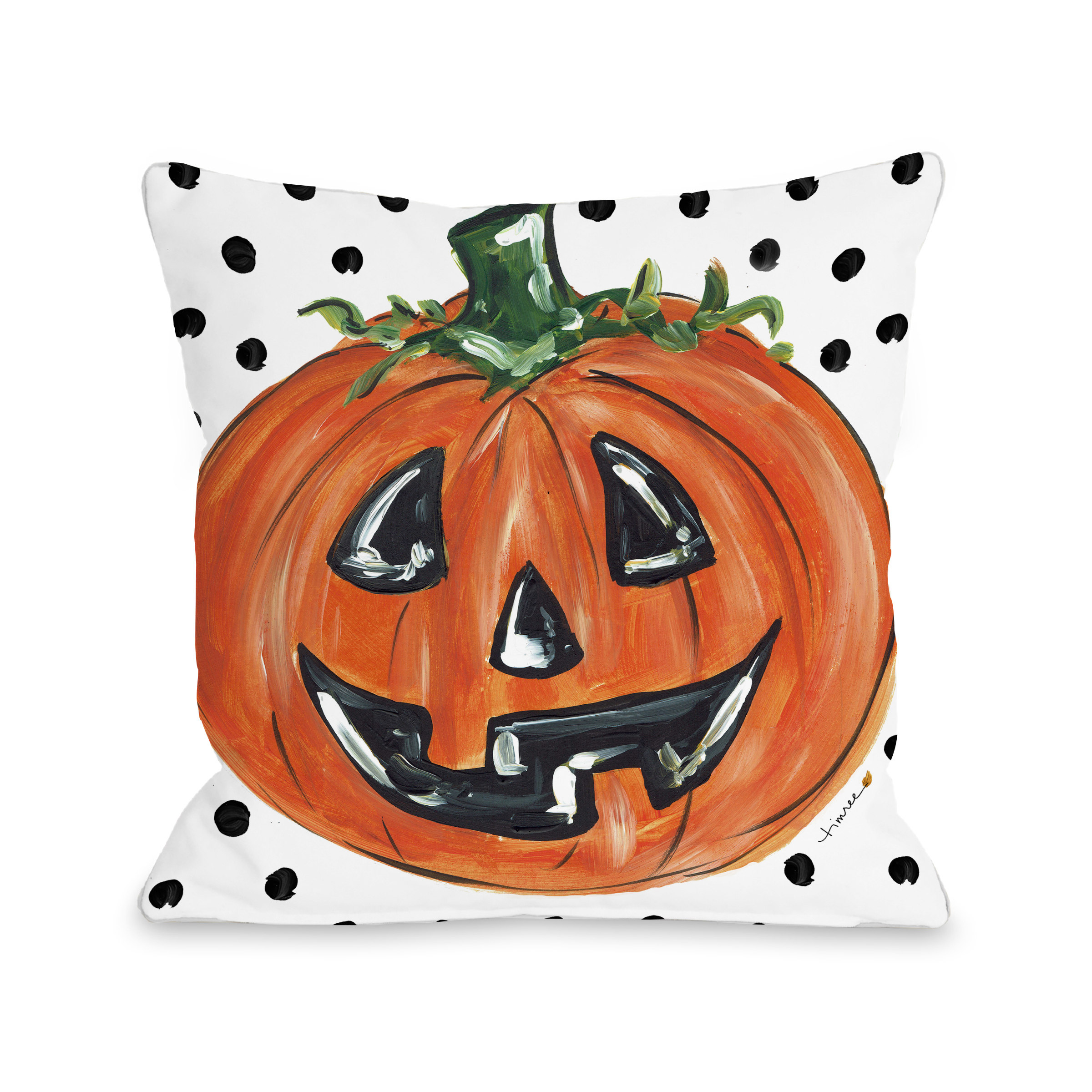 Halloween Pumpkin Dots - Orange 18x18 Pillow by Timree