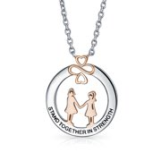 Ayllu Amulet Intertwine Symbol Heart Infinity Clover for Love Luck Unity Inspirational Words Quote Stand Together in Strength SIS BFF Pendant Necklace for Women Teens Rose Gold Plated Sterling Silver