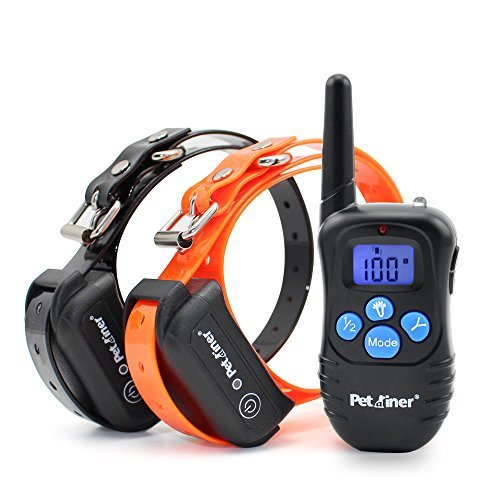 Petrainer PET998DBB2 Rechargeable Waterproof 330 Yard 2 Dog Remote Shock Training Collar with Static Shock/Vibration/Beep/Light