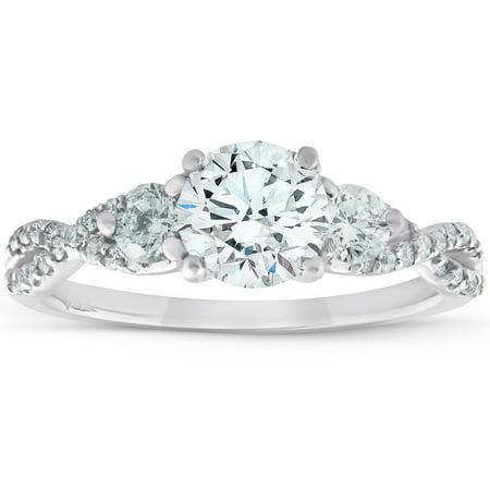 VS 1 1/2 Ct Diamond & Moissanite Infinity Engagement Ring 14k White Gold